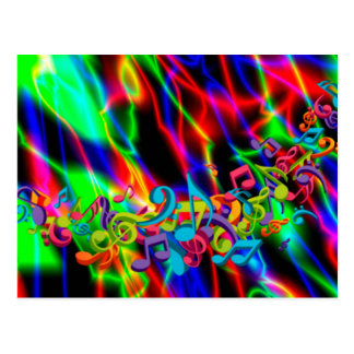 colourful music notes neon bright background postcard