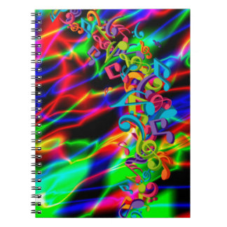 colourful music notes neon bright background spiral notebook