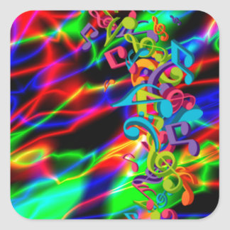 colourful music notes neon bright background square sticker