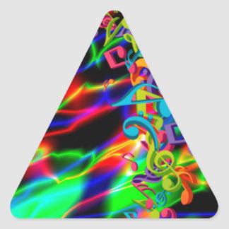 colourful music notes neon bright background triangle sticker