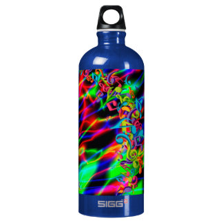 colourful music notes neon bright background water bottle