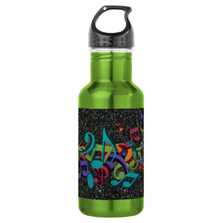 colourful music notes sounds black glitter effect 532 ml water bottle