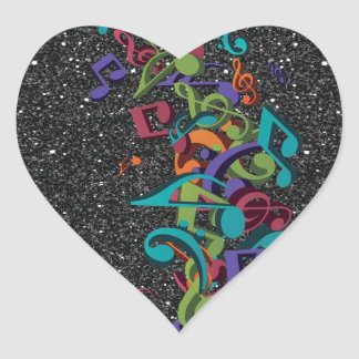 colourful music notes sounds black glitter effect heart sticker