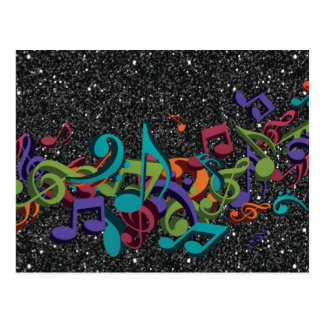 colourful music notes sounds black glitter effect postcard