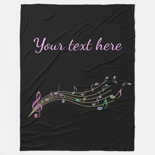 Colourful Music Notes With Customisable Text Fleece Blanket