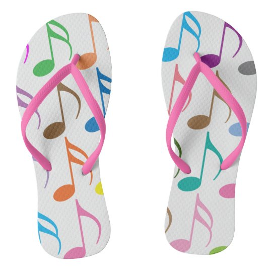Colourful musical notes pattern flip flops