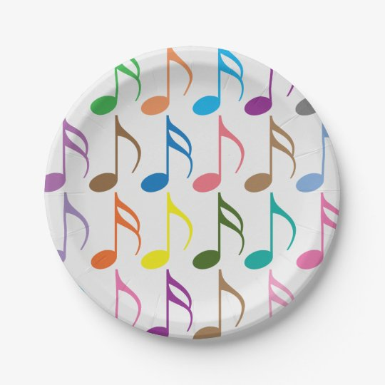 Colourful musical notes pattern paper plate