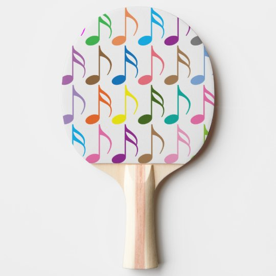 Colourful musical notes pattern ping pong paddle