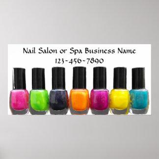 Colourful Nail Polish Bottles, Nail Salon Poster