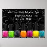 Colourful Nail Polish Bottles, Nail Salon Sign Poster