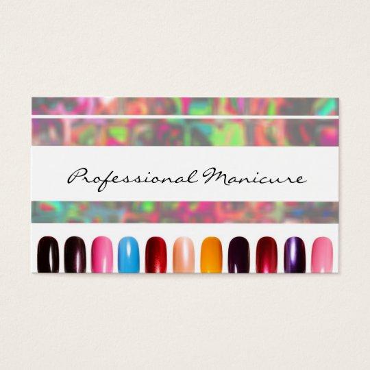 Colourful Nail Polish Manicurist Business Card