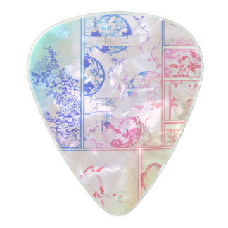 Colourful Nature Collage Asian Bird Flowers Pearl Celluloid Guitar Pick