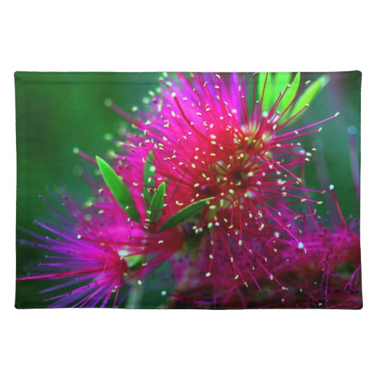 Colourful Nature Floral Hot Pink Neon Green Place Mats