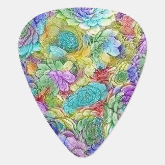 Colourful Nature Succulent Plants Pattern Plectrum