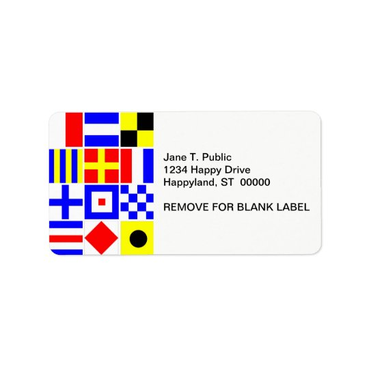 Colourful Nautical Signal Flags Pattern Label