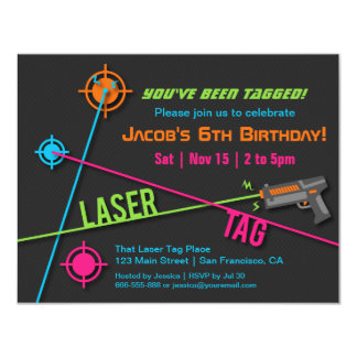 Colourful Neon Boys Laser Tag Birthday Party Card
