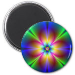 Colourful Neon Daisy 6 Cm Round Magnet