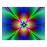 Colourful Neon Daisy Poster