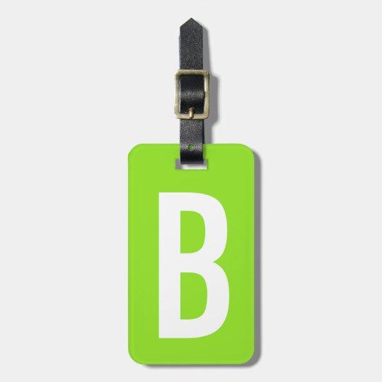 Colourful neon green monogram travel luggage tag