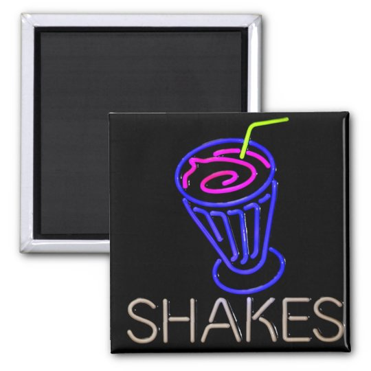Colourful Neon Milkshake Square Magnet