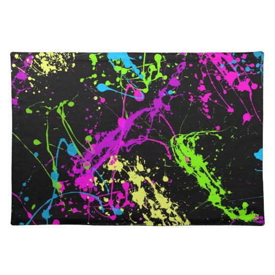 Colourful Neon Paint Splatters on Black Placemat
