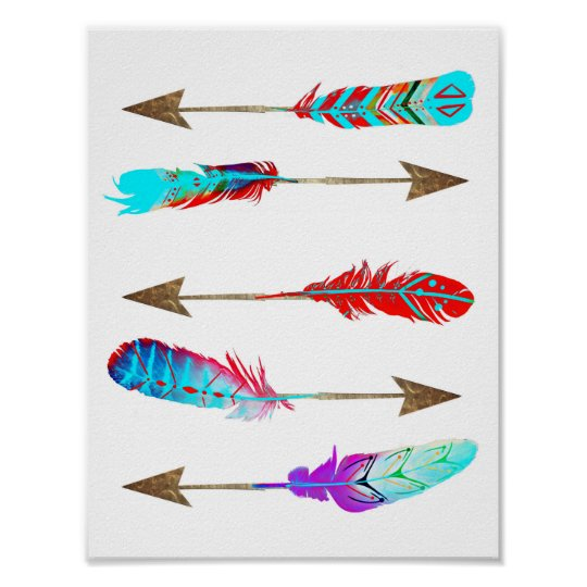 Colourful Neon Rustic Bohemian Feather Arrows Poster