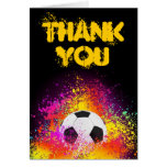 Colourful Neon Soccer Theme Thank You Note Card