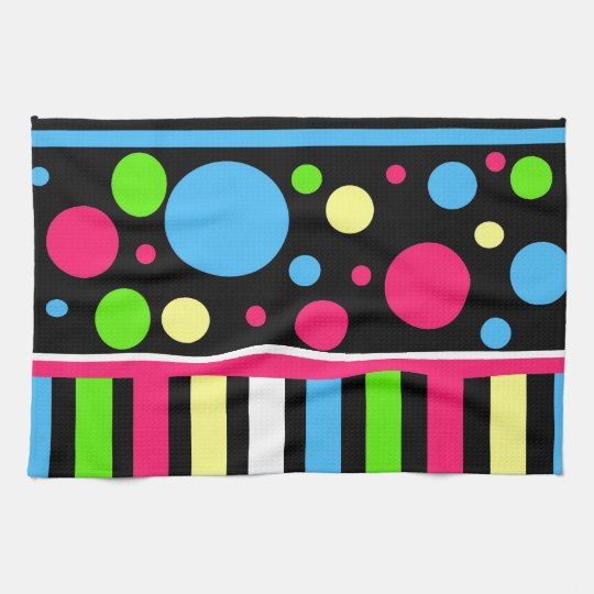 Colourful Neon Stripes Polka Dots Pink Blue Green