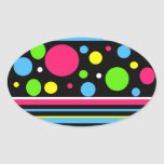 Colourful Neon Stripes Polka Dots Pink Teal Lime Oval Stickers