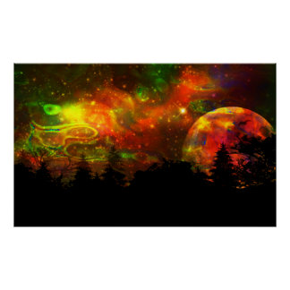 Colourful night sky poster
