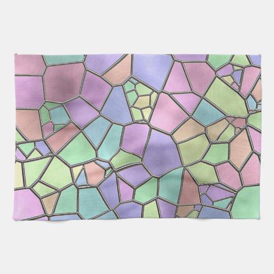 Colourful Nouveau Deco Stained Glass Pattern Tea Towel
