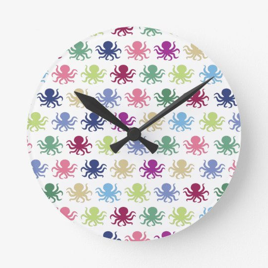Colourful octopus pattern round clock