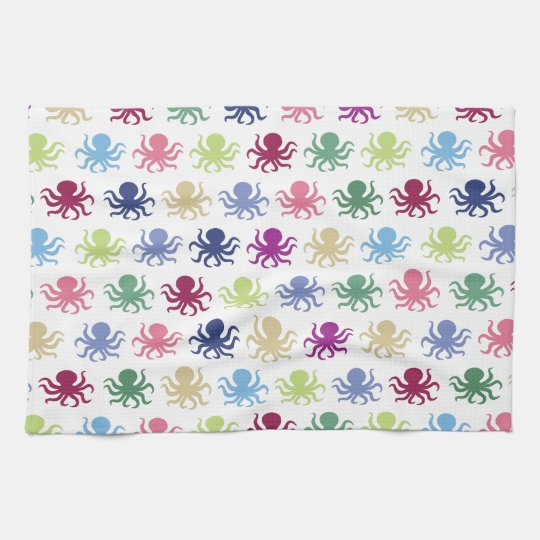 Colourful octopus pattern tea towel