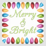 Colourful Old Fashioned Big Christmas Lightbulbs Square Sticker