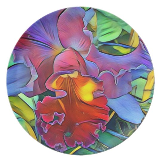 Colourful Orchid Melamine Plate