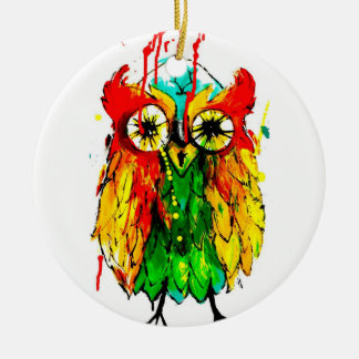 Colourful owl Christmas tree decoration Round Ceramic Decoration
