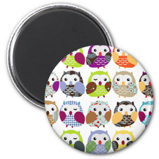 Colourful Owl Pattern 6 Cm Round Magnet