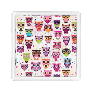 Colourful Owl Pattern For Kids 2 Acrylic Tray
