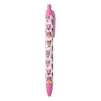 Colourful Owl Pattern For Kids 2 Black Ink Pen