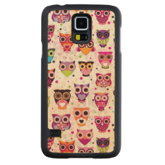 Colourful Owl Pattern For Kids 2 Carved Maple Galaxy S5 Case
