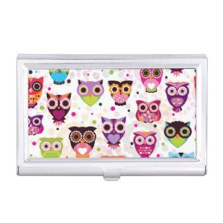 Colourful Owl Pattern For Kids 2 Case For Business Cards