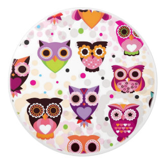 Colourful Owl Pattern For Kids 2 Ceramic Knob