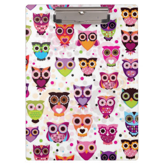Colourful Owl Pattern For Kids 2 Clipboards