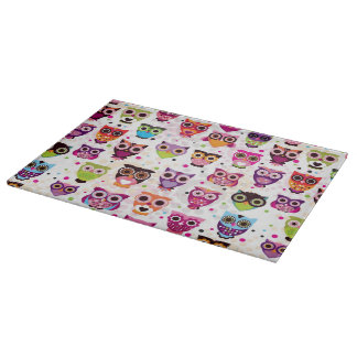 Colourful Owl Pattern For Kids 2 Cutting Board