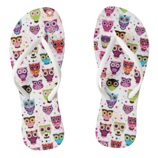 Colourful Owl Pattern For Kids 2 Flip Flops