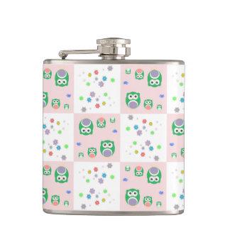 Colourful Owl Pattern For Kids 2 Hip Flasks