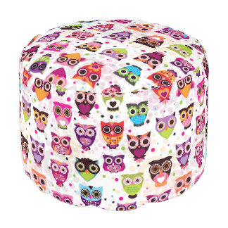 Colourful Owl Pattern For Kids 2 Round Pouf