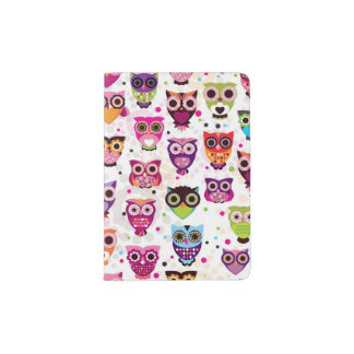 Colourful Owl Pattern For Kids 2 Passport Holder
