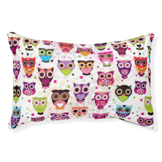 Colourful Owl Pattern For Kids 2 Pet Bed