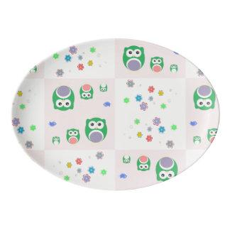 Colourful Owl Pattern For Kids 2 Porcelain Serving Platter